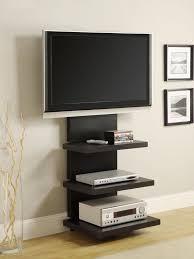 TV Stand Wall Mount System Center Storage Shelves Flat Bracket Adjustable  Black