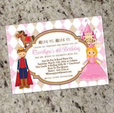Prince Princess Themed Birthday Party Invitations Free Shipping