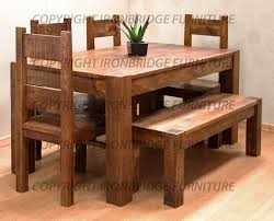 mesmerizing rustic dining table bench set with chair in natural wooden standing on hardwood floor and