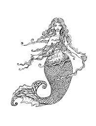 Mermaid With Long Hair Mermaids Adult Coloring Pages
