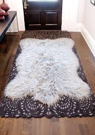 faux sheepskin area rug whit white fur perfect wool rugs black