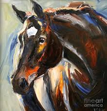 black horse painting black horse oil painting by marias watercolor