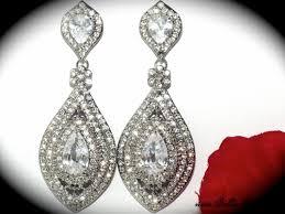 lara beautiful swarovski crystal drop wedding earrings