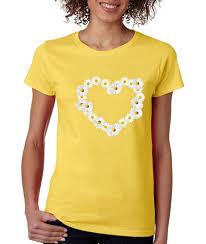 Heart Shape Design T Shirts Cosmozz Daisy Flower Heart Shape Cute Ladies T Shirt Flower