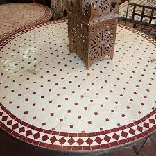 beige and red moroccan tiled table