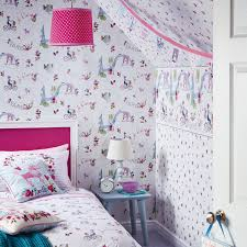 Purple Feature Wall Bedroom Girls Wallpaper Themed Bedroom Unicorn Stars Heart Glitter Chic