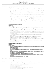 Logistic Manager Resume Sample Global Logistics Manager Resume Samples Velvet Jobs 7