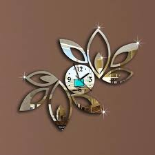 crystal mirror design whole flower art luxury design removable crystal mirror wall clock wall sticker living