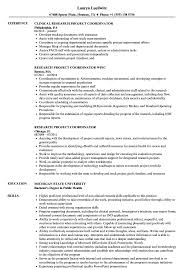 clinical research coordinator resume sample research project coordinator resume samples velvet jobs