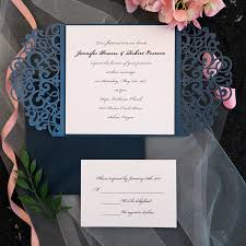 wedding invitations with hearts classic navy blue blush pink laser cut wedding invitation ewws072 as