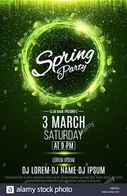 Green Party Flyer Poster For A Spring Party Abstract Banner Of Swirling Neon