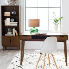 office shag. Modern Home Office With Jade Table Lamp, NuLOOM Diamond Shag Area Rug, Belham Living P