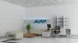 Frp Office Wall Panels With Shelf And White Sofa And Desk
