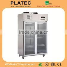 2 glass door vertical stainless steel deep freezer meat chiller