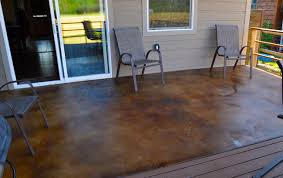 Modern Stained Concrete Patio Before And After Acid Sealing To Decorating