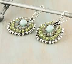 peridot sterling wire work chandelier earrings antique vintage metal patina natural gemstone jewelry august birthstone birthday gift