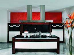 Kitchen With Red Appliances Brown Color Frame In White Island Also Cabinetry With Kitchen