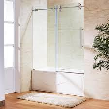 frameless glass pocket doors. Vigo 60 In X 66 Frameless Sliding Tub Door Stainless Steel With Proportions 1000 Glass Pocket Doors T