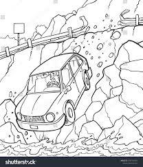 Hand drawn car crash illustration auto accident sketch vector design