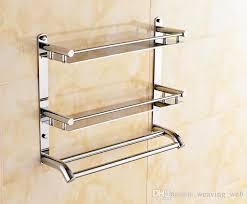 towel rack. 40cm Multifunctional Towel Holder High Bearing Luxury Bathroom Stainless Steel Rack Bilayer Wall Mounted