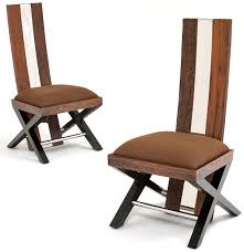contemporary wood dining chair with stainless steel