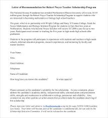 Letter of Re mendation for Teacher Scholarship Program