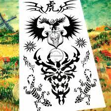 Shnapign черные крылья ящерица временные татуировки боди арт флэш тату наклейка S 1710