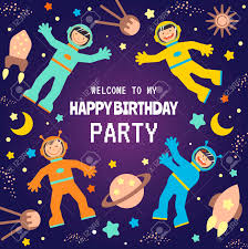 Space Party Invitation Flat Design Vector Illustration Child S Rocket Birthday Party