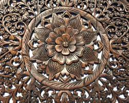 carved wall art round wood fl rustic home decor australia