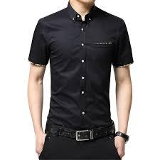 Summer New Korean Style Men Short Sleeve Shirt Fashion Solid