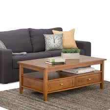 simpli home warm shaker honey brown storage coffee table