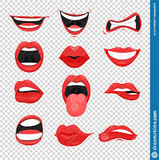 vector ilration set of red woman lips mouth with a kiss smile tongue and many emotions mouth emoji on transpa background in flat style