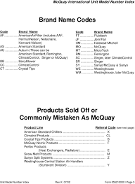 mcquay international parts department unit model number index pdf halstead mitchell mq mcquay mt microtech rm