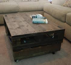 Pallet Coffee Table On Wheels With Natural Bright Color Also Pop Pallet Coffee Table On Wheels