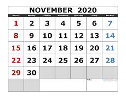 November 2020 Calendar Printables Pdf November 2020 Printable Calendar Template Excel Pdf Image