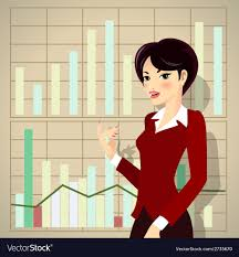 Business Woman Cartoon Presenting Proposal Vector Image