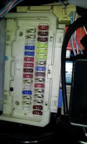 30a power fuse instrument panel location toyota yaris forums i believe its the bottom left pink fuse on the front of the panel circled in red that you need to look at change