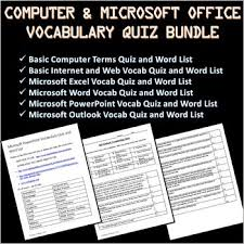 Microsoft Word Vocabulary 6 Computer And Microsoft Office Vocabulary Quizzes And Word Lists Bundle