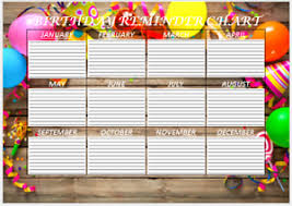 Birthday Reminder Chart Birthday Reminder Chart A4 Laminated With Free Drywipe Pen Ebay