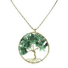 amazon green quartz stone eternal tree of life br beads long necklace jewelry