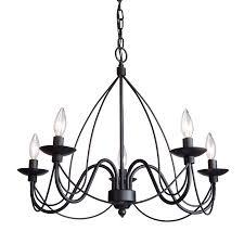 black metal chandelier. Artcraft Lighting Wrought Iron 24-in 5-Light Ebony Black Candle Chandelier Metal I