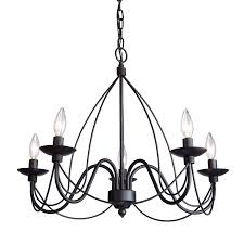 artcraft lighting wrought iron 24 in 5 light ebony black wrought iron candle chandelier