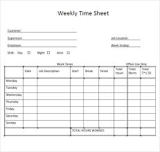 Employee Weekly Time Sheet Download Weekly Timesheet Template Bonsai