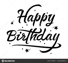 Black Happy Birthday Vllustration Black And White Happy Birthday Card Vector