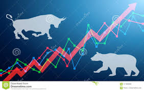 Bear And Bull On A Chart With Arrows Going Up Stock Market