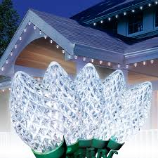 Holiday Time Cool White Led C9 Lights 100 Count Holiday Time Led C9 Super Bright Light Set Green Wire Cool
