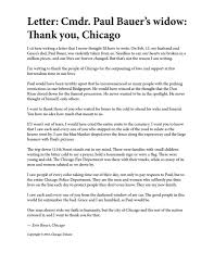 Chicago Police On Twitter Letter Cmdr Paul Bauer S Widow Thank