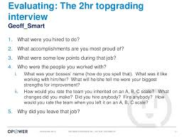 Topgrading Chart Hiring The Best At Opower