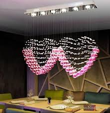 l90cm x h80cm k9 pink crystal two heart shaped pendant lights lighting droplight chandelier bedroom lamp living room wedding marry llfa chandelier floor