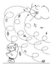 fall windy day line worksheet for kids curly lines herbst im kindergarten pre